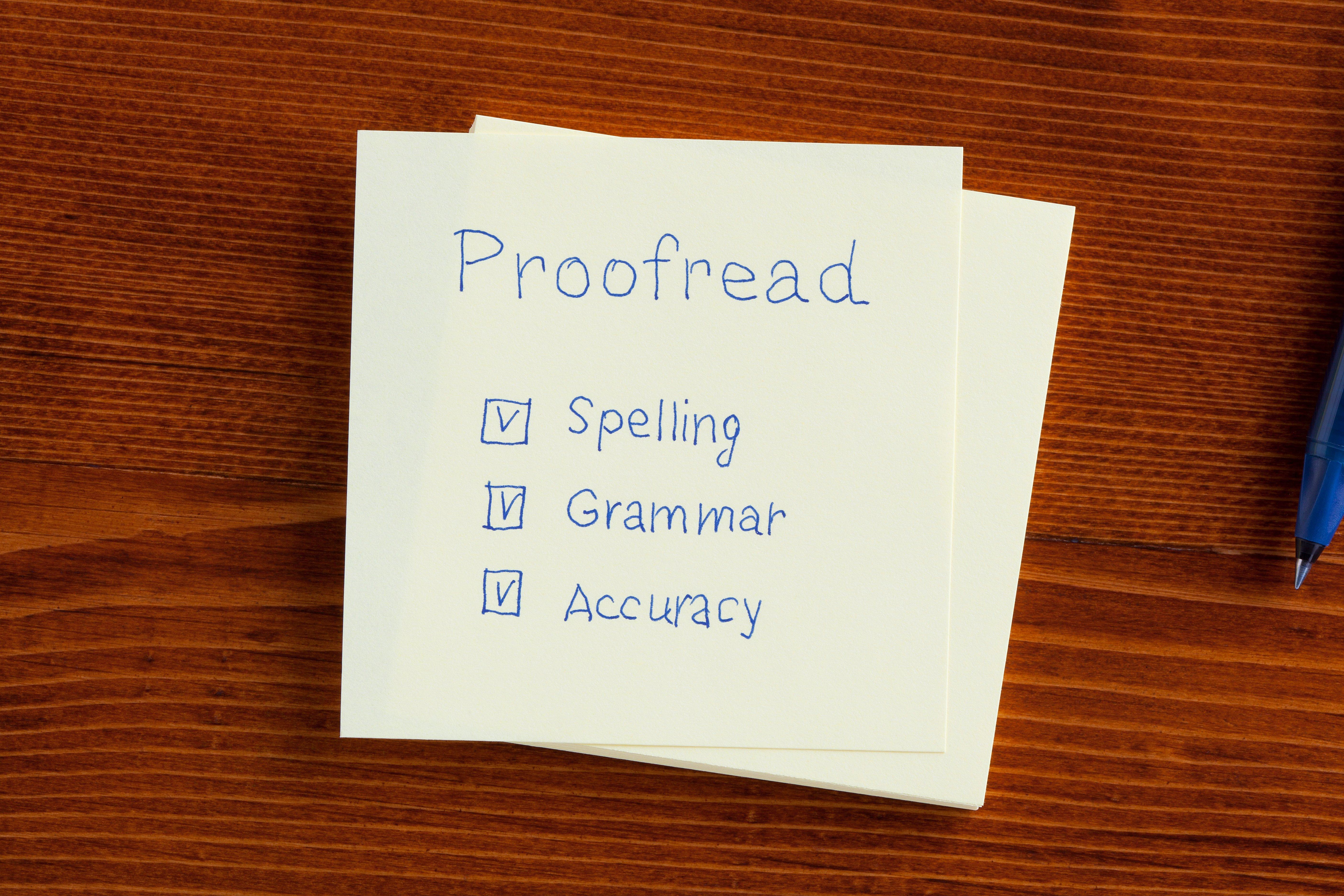 Proofread spelling grammar accuracy