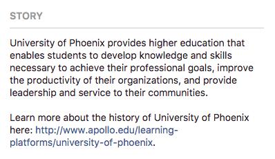 Phoenix university about facebook