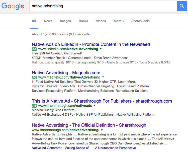 Google Adwords native advertising