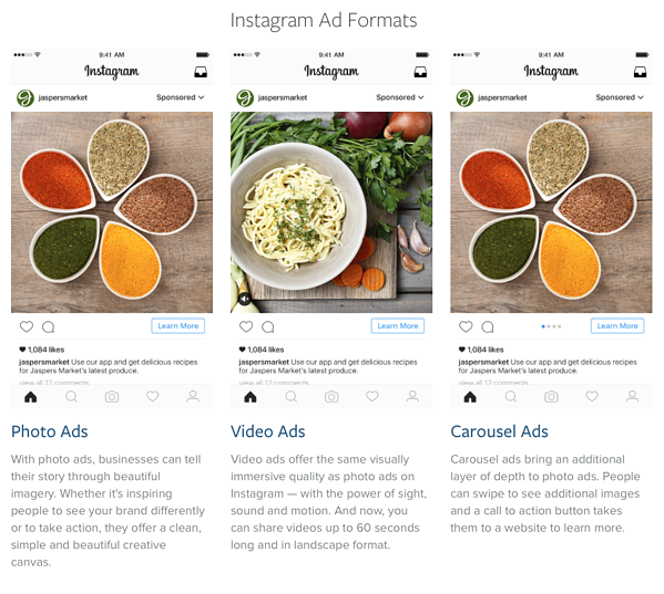 Instagram ad formats